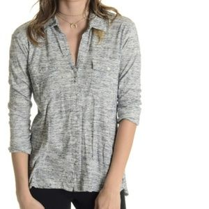 James Perse heathered grey button down shirt top